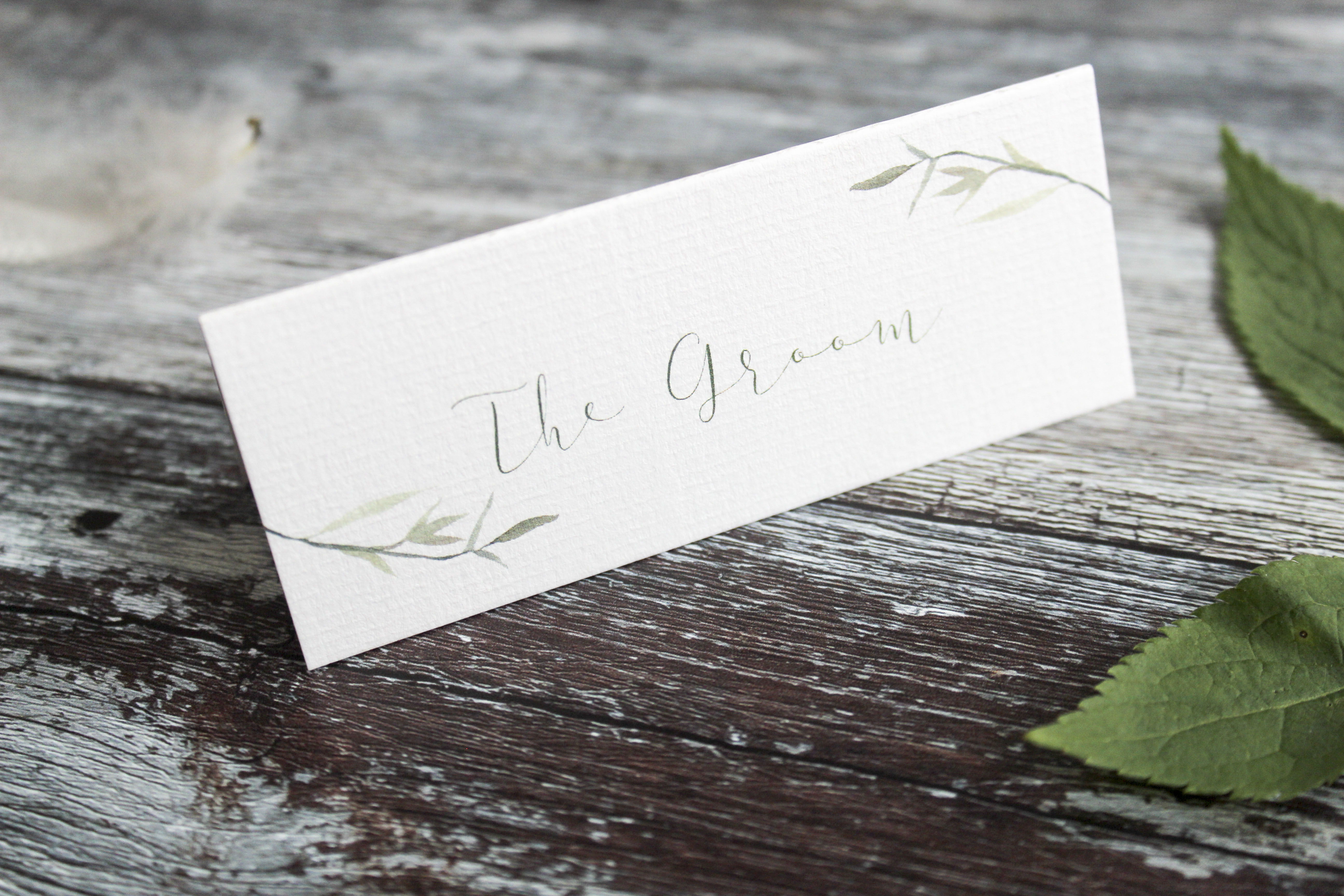 watercolour leaf place card