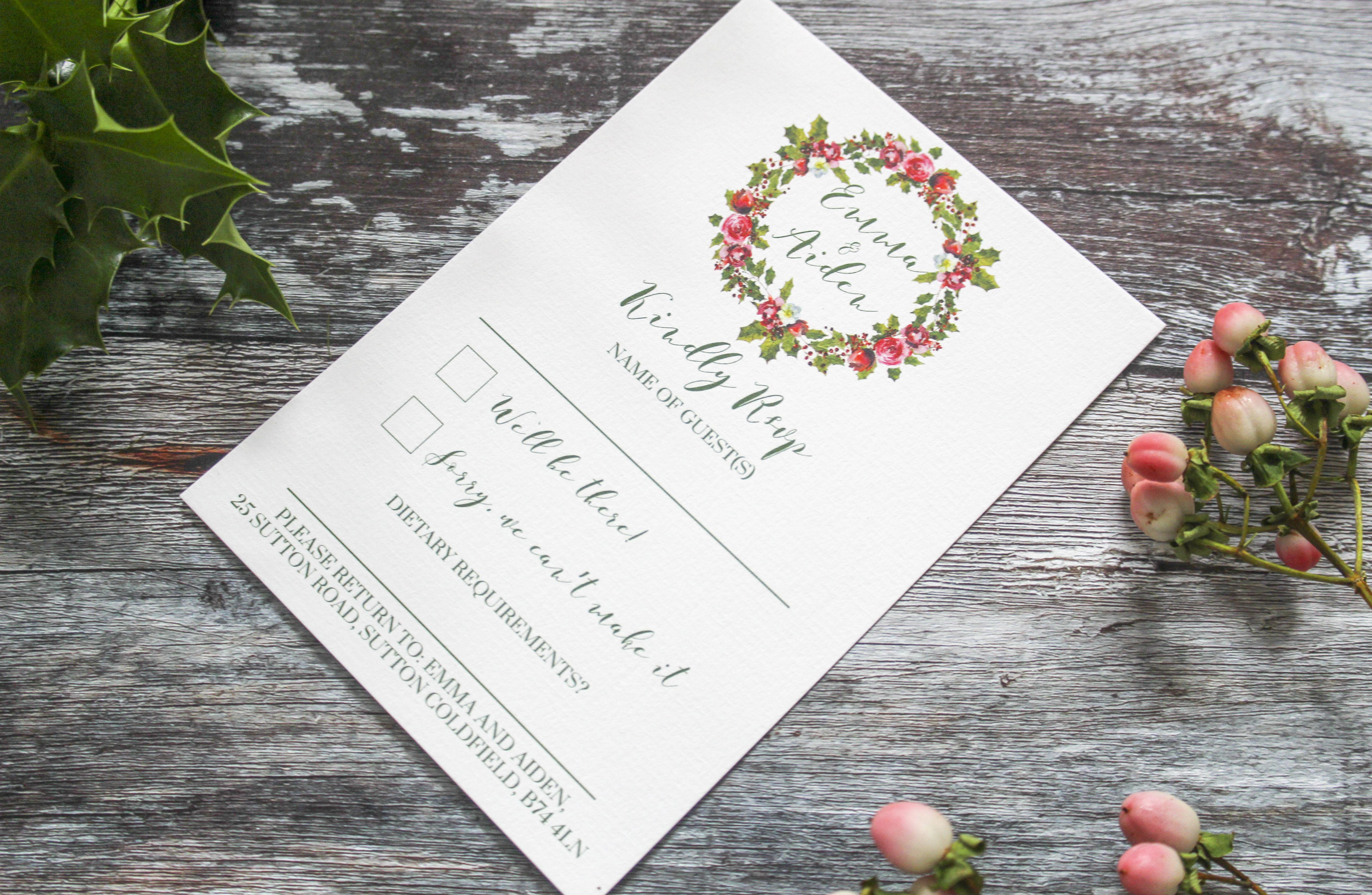 winter wreath wedding rsvp