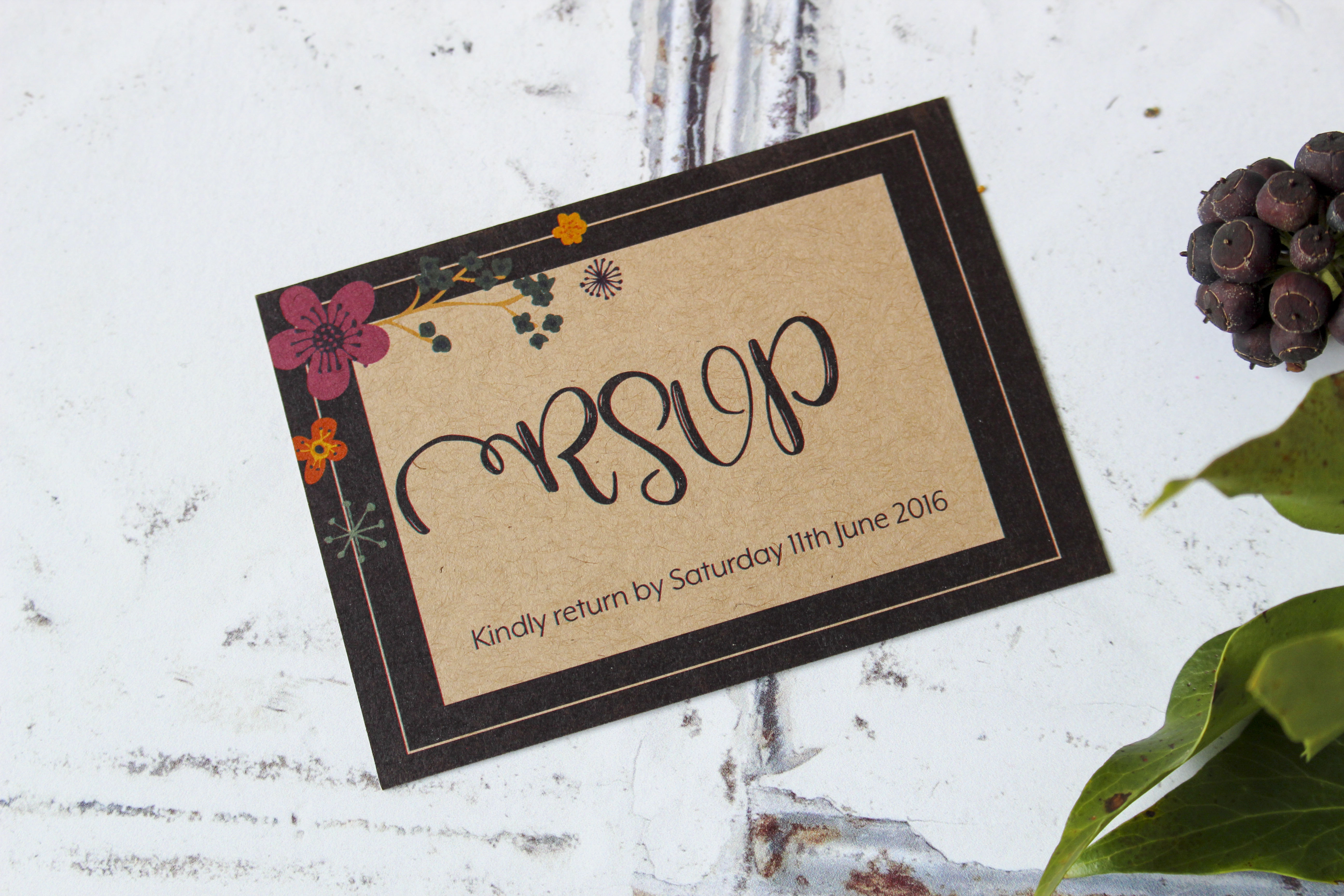 rustic floral wedding invites