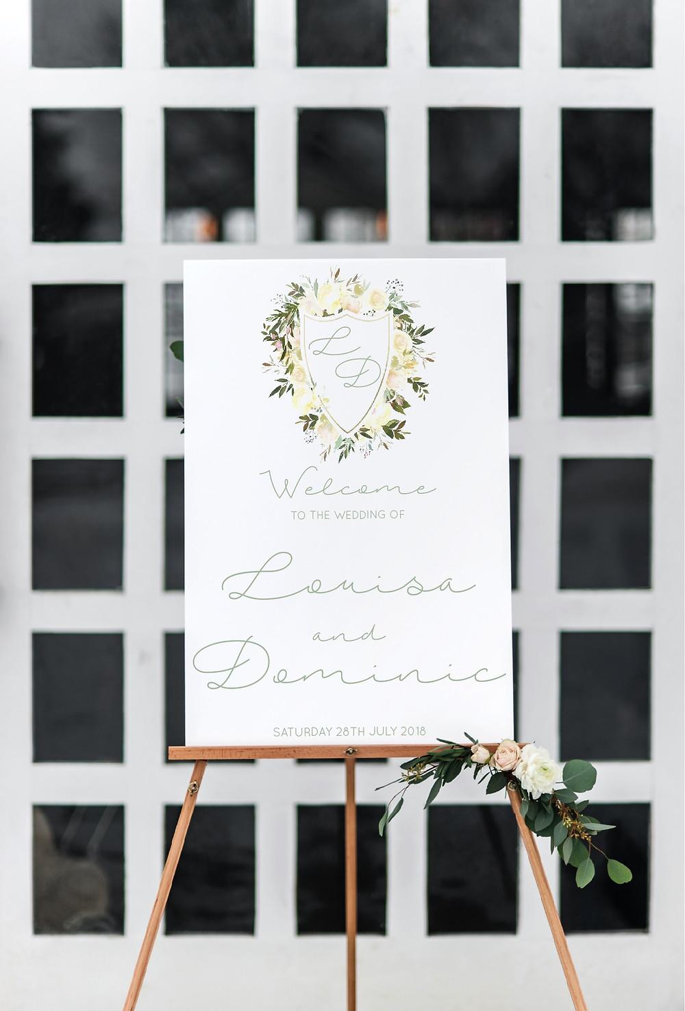 elegant greenery wedding welcome sign