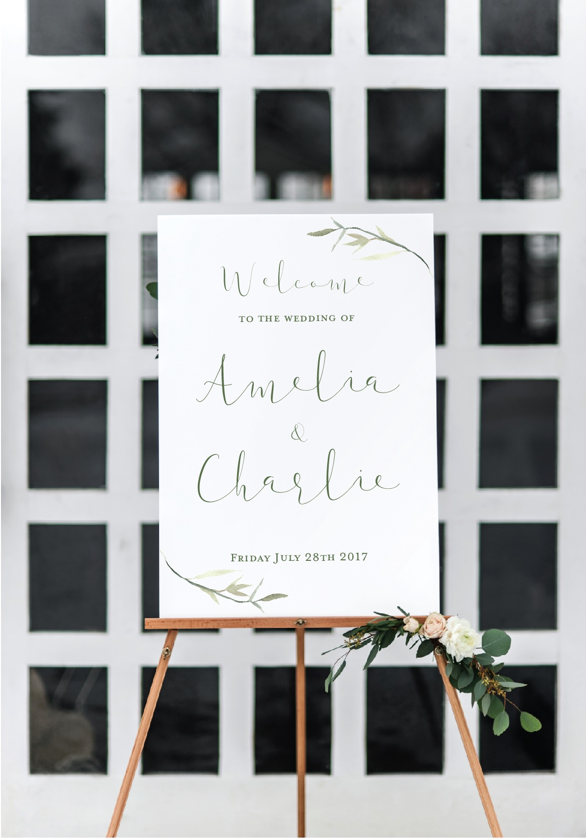 elegant leaf wedding sign