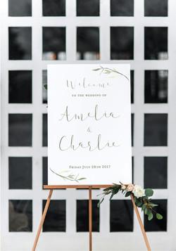 elegant leaf wedding sign