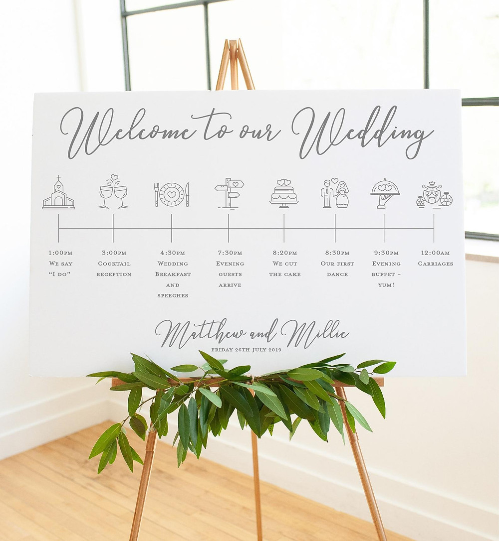 welcome to our wedding timeline sign order of the day elegant