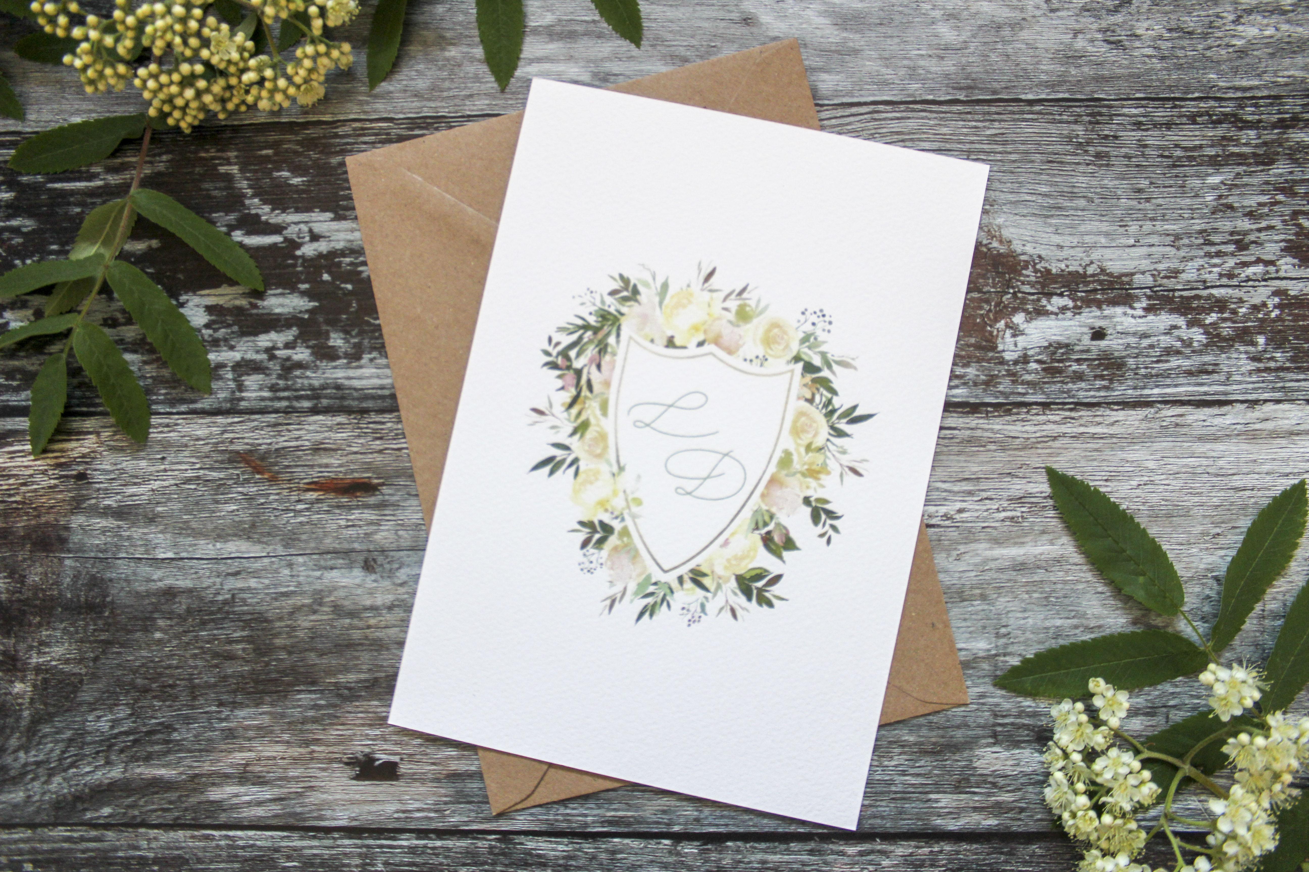 watercolour wedding crest invite