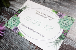 Succulent save the date card