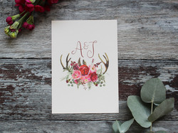 red floral wedding save the date