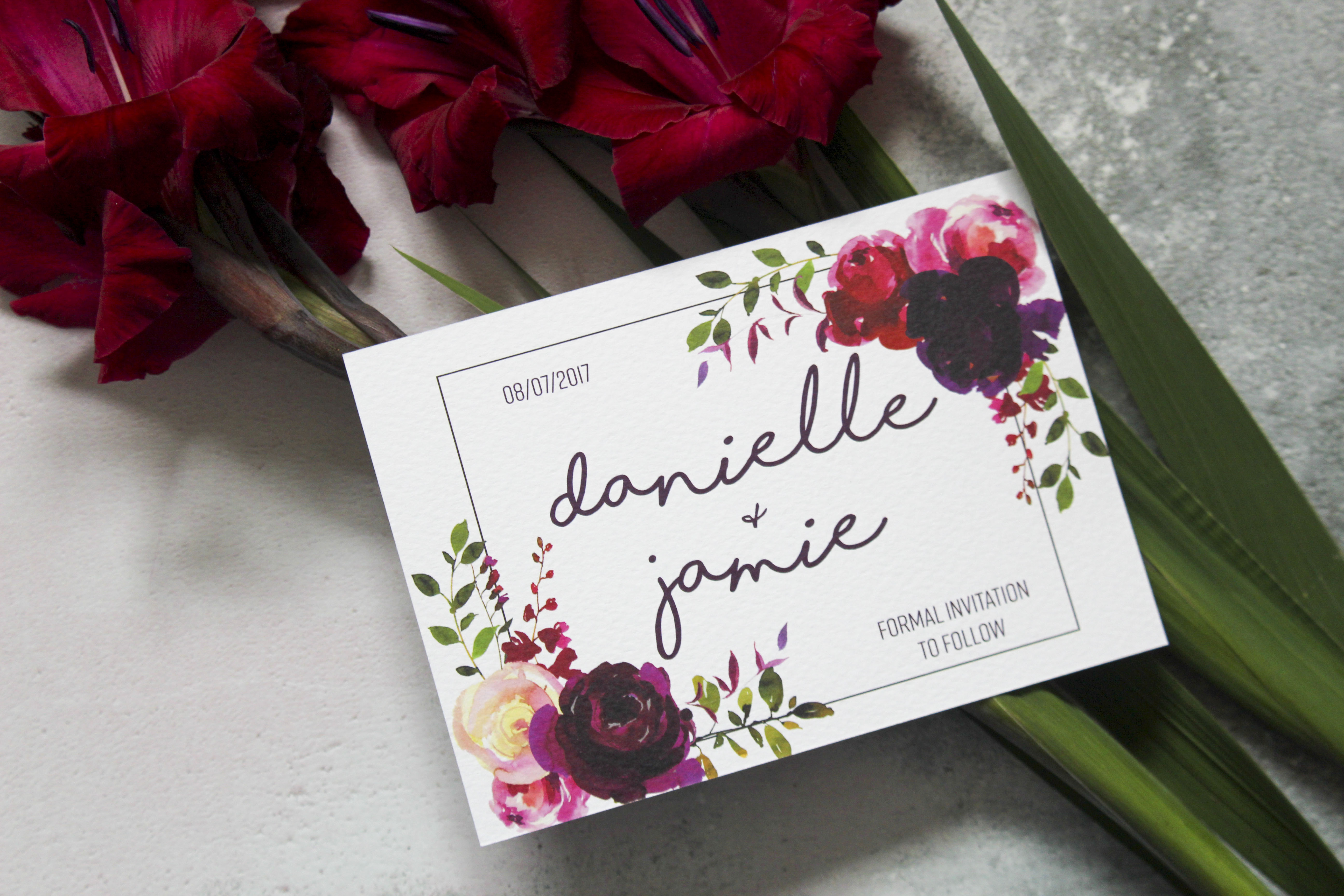 floral wedding save the dates