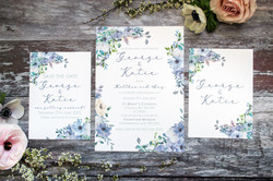 dusty blue wedding invitation set