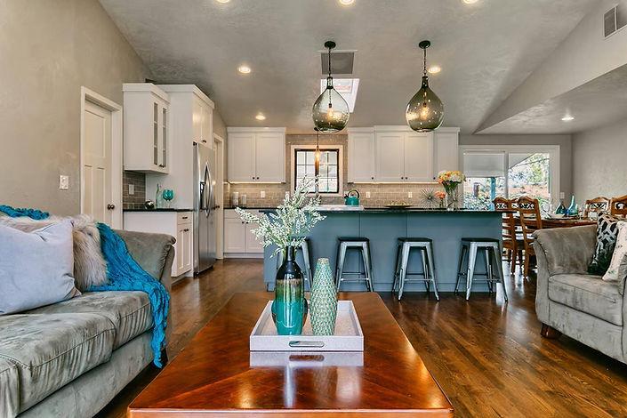 custom kitchen design hardwood floor white shaker cabinets granite countertop crackled glass tile backsplash home remodel renovation