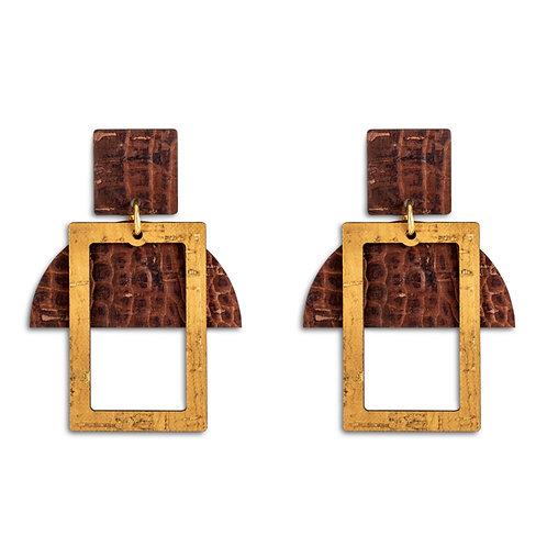 Earrings Yellow - Brown