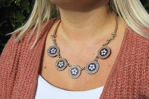 Necklace with Blue and Silver - Flowers