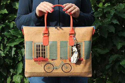 Handbag - Natural cork color with bicycle and cat key ring