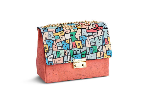 Shoulder bag - Coral with colorful motif