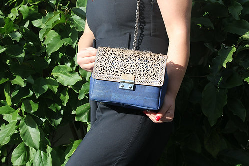 Shoulder bag - Blue with silver