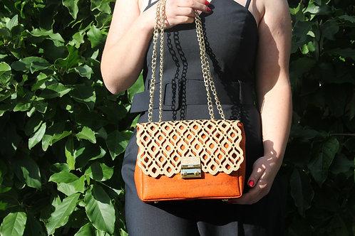 Shoulder bag - Orange with gold motif
