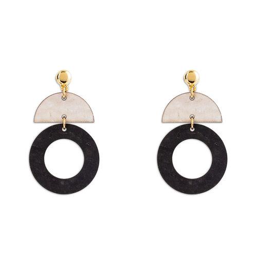 Earrings Black - White
