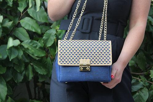 Shoulder bag - Blue with gold motif