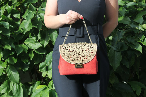 Shoulder bag - Red with gold motif