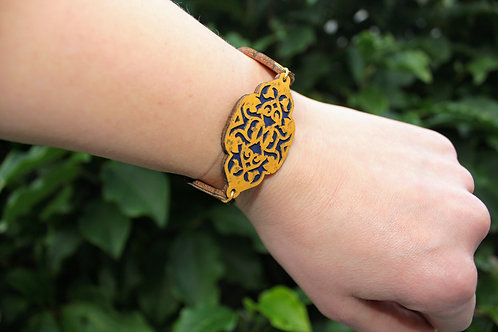 Bracelet inspired by Moroccan geometry - Yellow and Blue