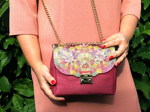 Shoulder bag - Fuchsia with stones