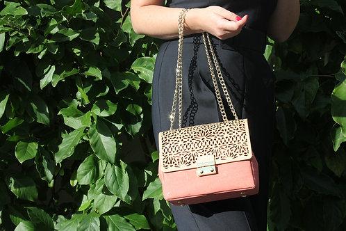 Shoulder bag - Coral with gold motif