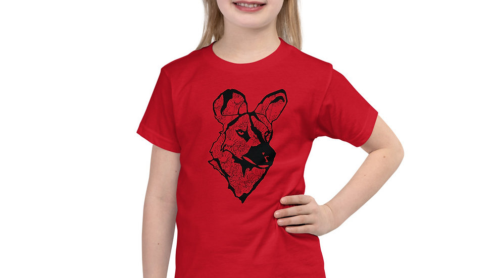 wild dog with dandelion- black 2 - 6 yrs Short sleeve kids t-shirt