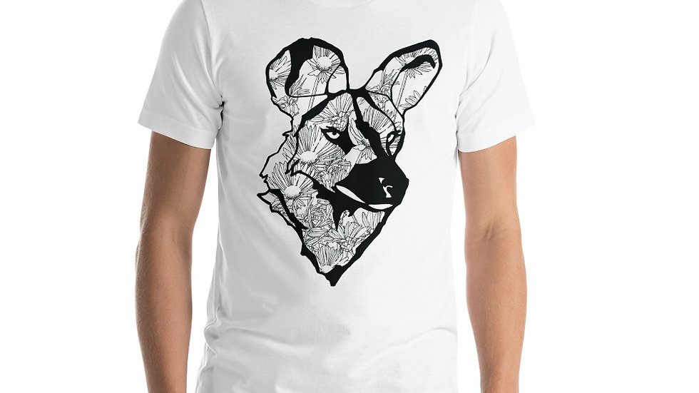 Wild dog with dandelions black Short-Sleeve Unisex T-Shirt