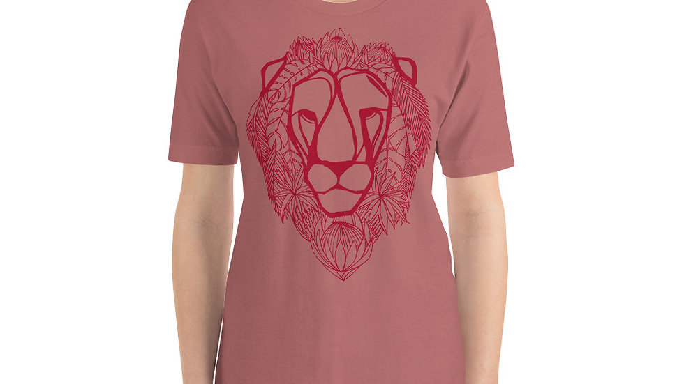 Red lion with King proteas Short-Sleeve Unisex T-Shirt