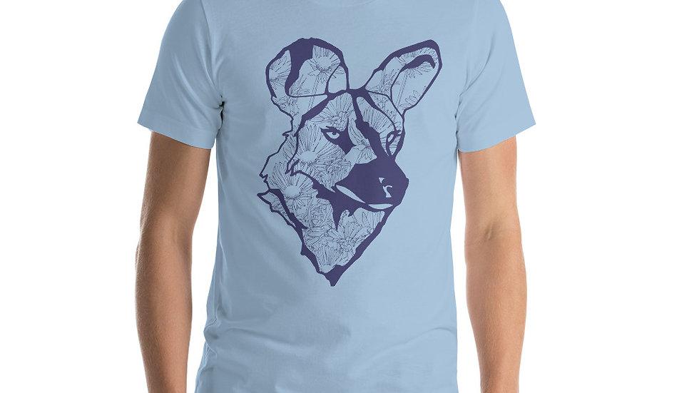 Blue Wild dog with dandelions Short-Sleeve Unisex T-Shirt