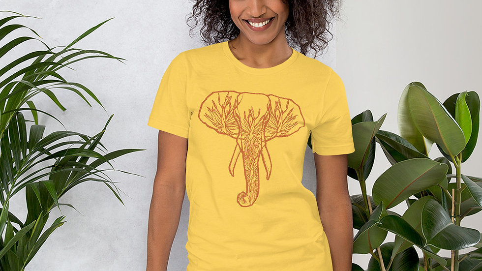 Orange Elephant with Aloes Short-Sleeve Unisex T-Shirt