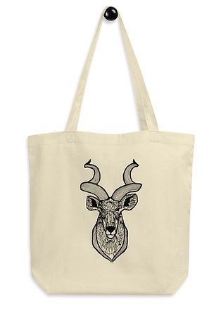 Kudu with King Proteas Eco Tote Bag