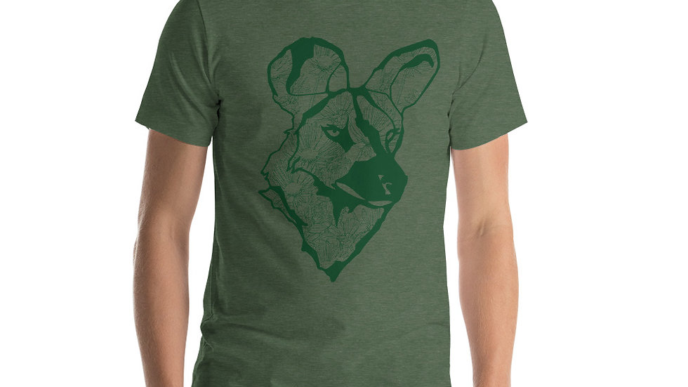 Wild dog with dandelions - green Short-Sleeve Unisex T-Shirt