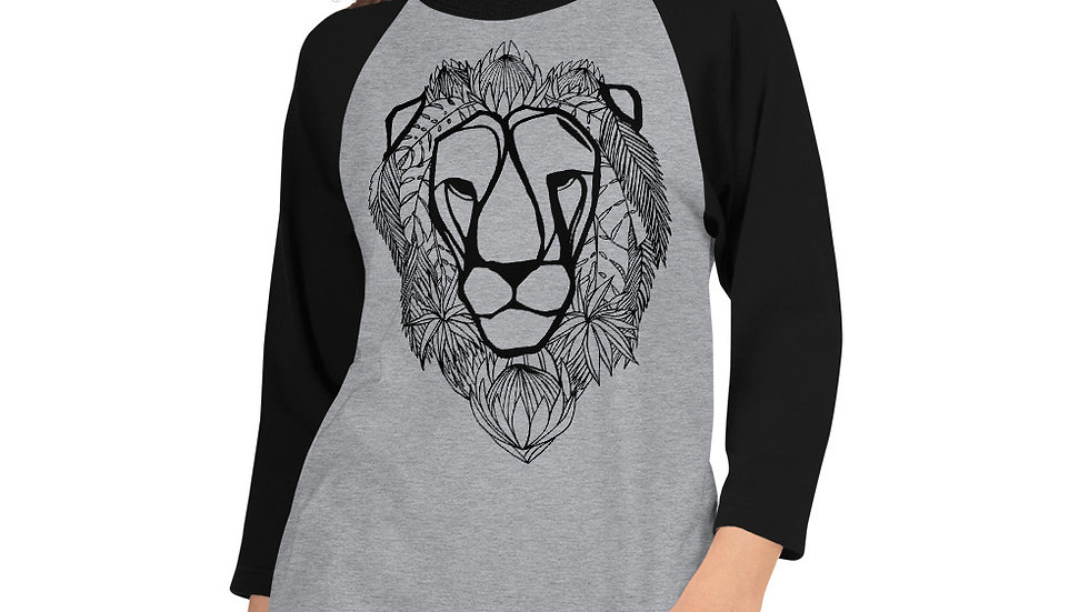 3/4 sleeve Lion with Proteas - black