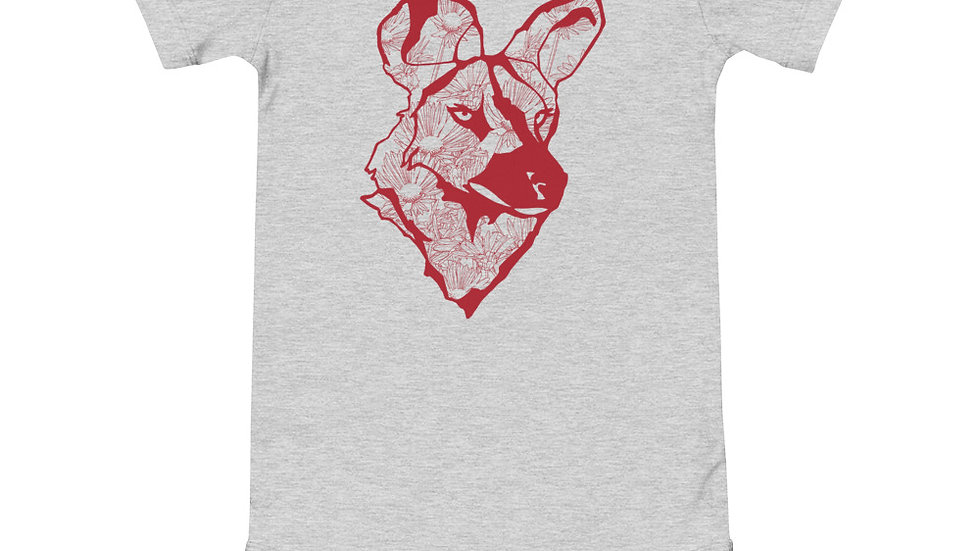 Wild dog dandelion - red print babygrow