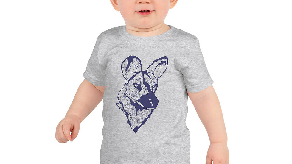 wild dog with dandelion- blue 2 - 6 yrs Short sleeve kids t-shirt