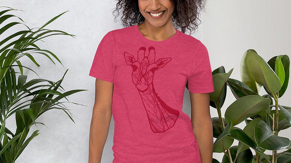 Red Giraffe with Strelitzia Short-Sleeve Unisex T-Shirt