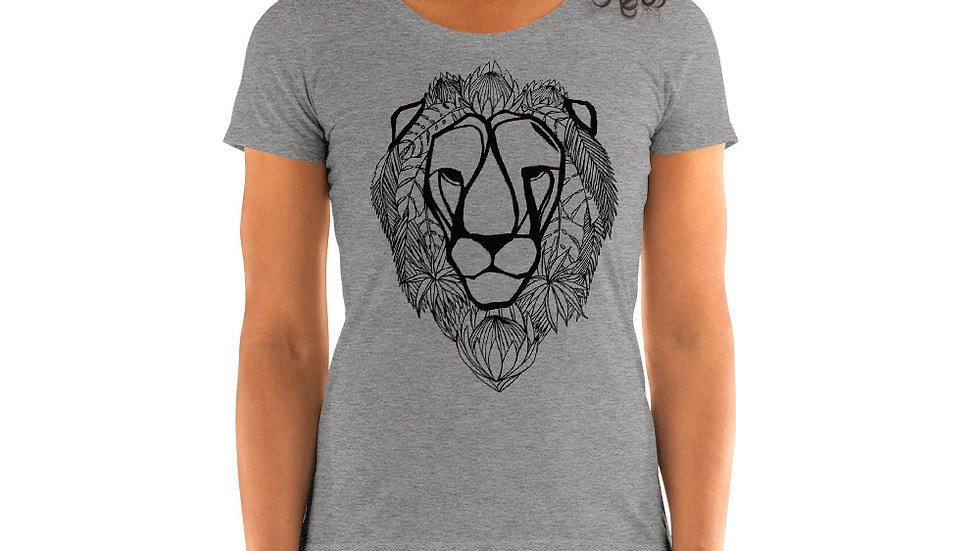 Ladies' T - black lion with proteas
