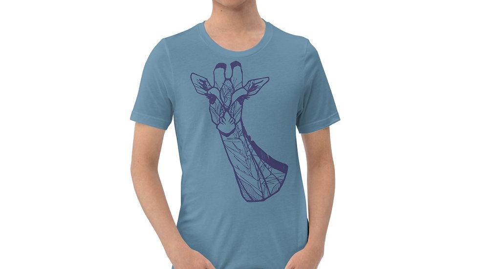 Blue giraffe with Strelitzia Short-Sleeve Unisex T-Shirt