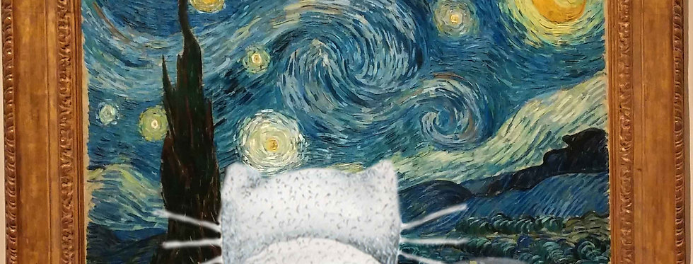 """Manhattan Cat looking at Starry Night"""
