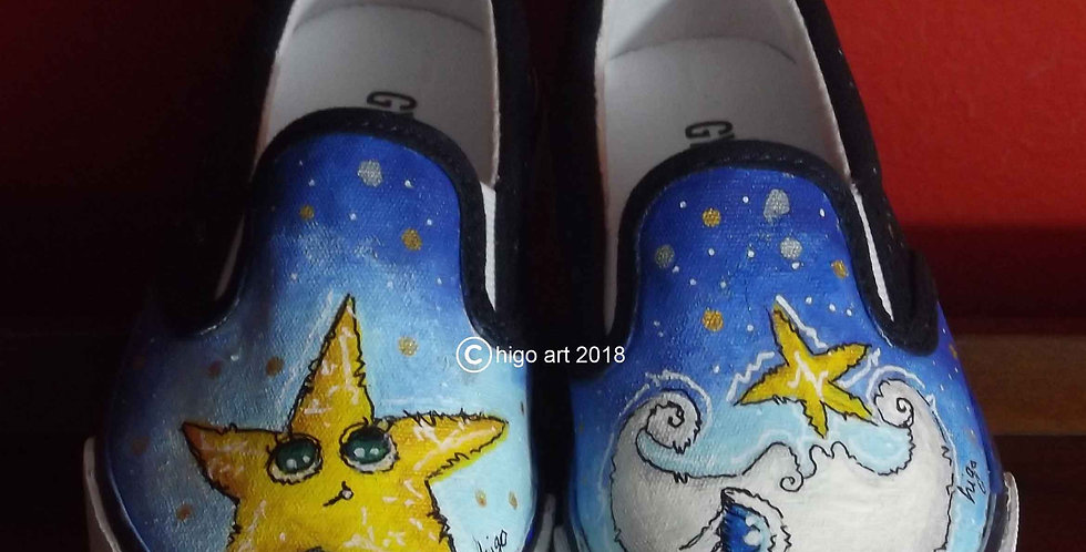 """And the moon came out with a star"" sneakers"