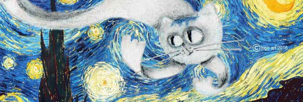 """Manhattan Cat inside Starry Night"""