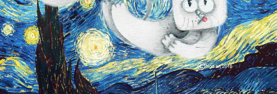 """Manhattan Cat swirling inside of Starry Night"""