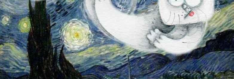 """Manhattan Cat inside of Starry Night"""