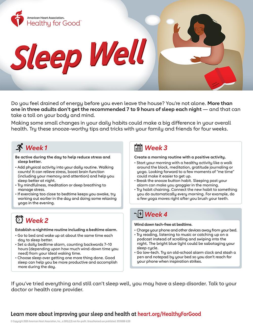sleep well infographic from heart.org - mizpah