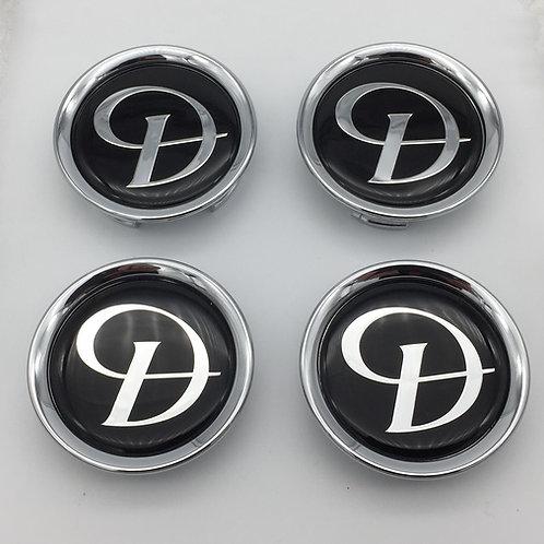 Centre Cap Badges - Daimler Black & Silver. Set of 4