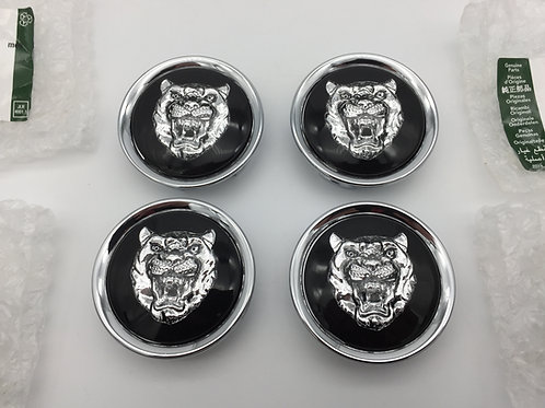 Centre Cap Badges - Black with Silver Growler. Set of 4