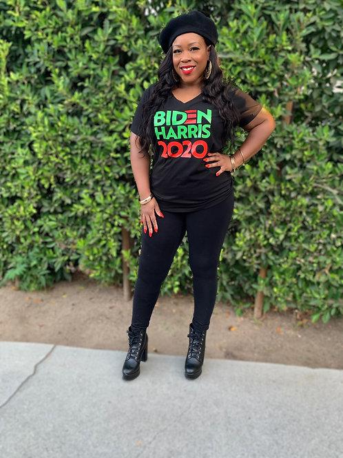 Biden Harris 2020 Red & Green - Women's V-Neck