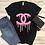 Thumbnail: Glitter Chanel Drip (Black) - Women's V-Neck Shirt