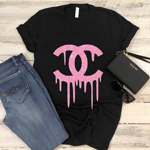Glitter Chanel Drip (Black) - Women's V-Neck Shirt