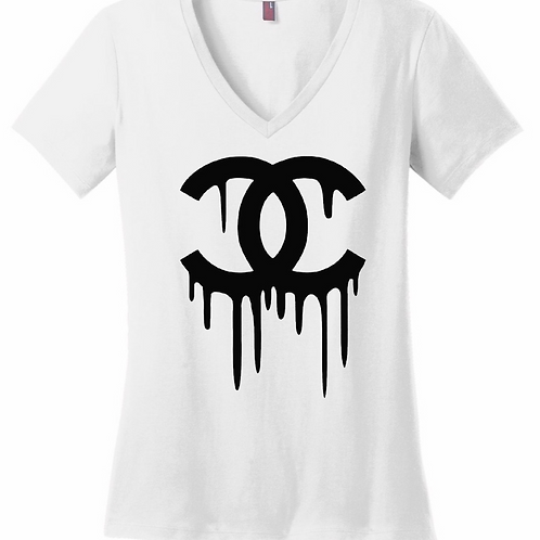 Chanel Drip (White) - Women's V-Neck Shirt
